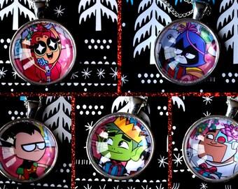 Teen Titans Go Christmas Necklace - Robin, Beast Boy, Cyborg, Raven and Starfire