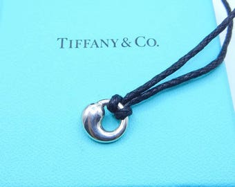 Tiffany co necklace etsy authentic tiffany co elsa peretti eternal circle pendant sterling silver continuous circle charm with mozeypictures Image collections