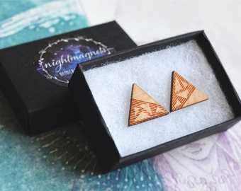 Wooden Engraved Triangle 2 Sterling Silver Studs Earrings