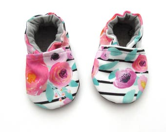 Floral Stripe Baby Shoes // Watercolor Pink Mint Black White, Eco-Canvas Moccs, Baby Moccs, Baby Booties, Baby Slippers, Toddler Indoor
