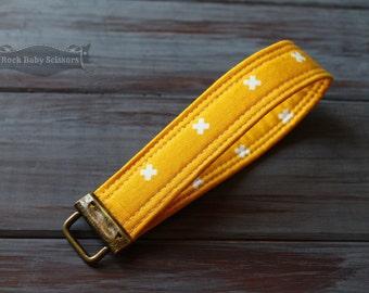 Dandelion Yellow Cotton + Steel XOXO Key Fob key chain