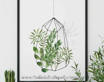 Hanging plant printable wall decoration, green leaf wall art, Greenery wall, plant wall decor, hanging plant printable, foliage wall decor,