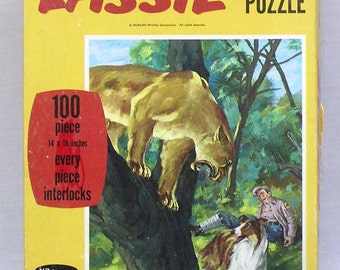 Vintage Lassie Jigsaw Puzzle Complete in OB with Lassie and Mt. Lion Graphics 1966