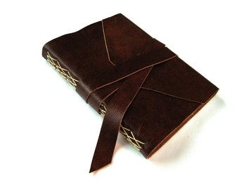 Brown Leather Journal or Leather Sketchbook with Double Wrap Tie