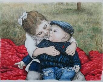 CUSTOM BABY PORTRAIT, Custom Family Portrait, Color Pencil Portrait, Portrait Drawing, Pastel Portrait, Pencil Portrait, Father's Day, Gift