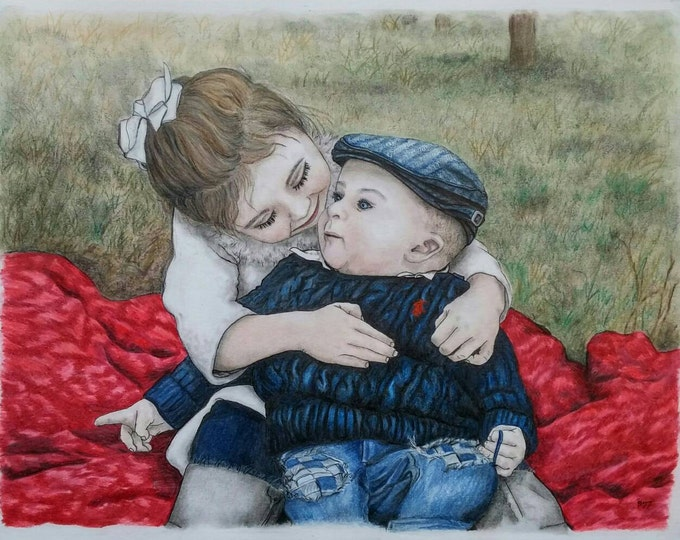 Featured listing image: CUSTOM BABY PORTRAIT, Custom Family Portrait, Color Pencil Portrait, Portrait Drawing, Pastel Portrait, Pencil Portrait, Father's Day, Gift