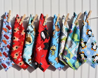 "Set of 8 8"" Mixed Boys Flannel  Cloth Napkins Lunchbox"