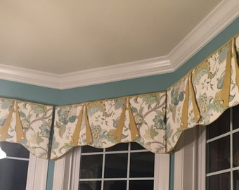 "Custom Window Treatment CASEY Hidden Rod Pocket® Valance, fits 45"" - 60"" window, constructed using your fabrics, my LABOR and lining"