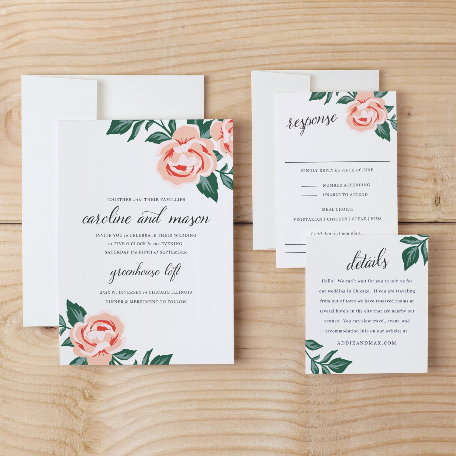 Diy wedding invitation template colorful floral word or pages diy wedding invitation template colorful floral word or pages mac or pc change the colors text print at home instant download stopboris Image collections