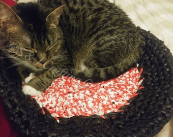 Handmade Crochet Cat Bed made with Carrier Bags