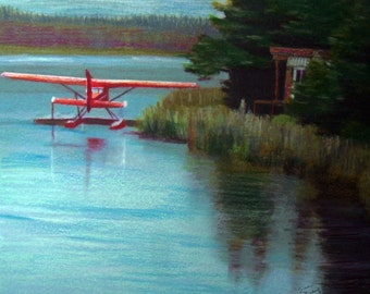 original art drawing 8x10 float plane lake matted to 11x14 Alaska landscape