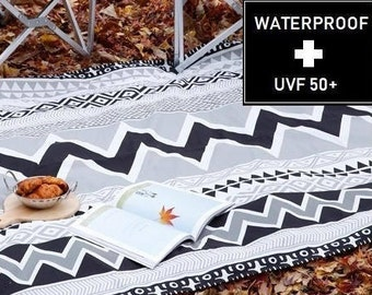 WATERPROOF AND UV 50+ Fabric -by Yard (150cm Width), Geometric Pattern, Black and White