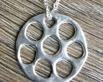 Handcrafted sterling silver circle pendant and necklace
