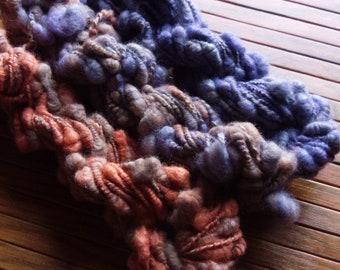 Handspun Art  Yarn, Merino Soy Silk Yarn, coiled yarn, corespun yarn,heavily textured yarn, novelty yarn