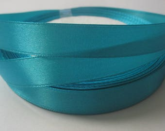 5 m clear 12mm turquoise colored satin ribbon
