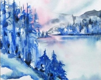 11x14,13x19,8x10, Lake House Decor, Cottage Wall Art, Printed Art, Unique Art, Shades of Blue, Foggy Print, Misty Mountains, Misty Paintings
