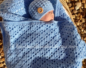 Baby boy blanket and hat set crochet baby afghan and hat receiving blanket and hat shower set blue baby afghan blue baby afghan