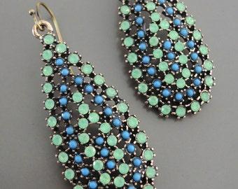 Gold Earrings - Green Opal Rhinestones Earrings - Blue Dangle Earrings - Boho Earrings - Festival Earrings - handmade jewelry