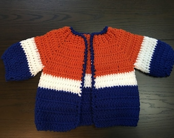 Striped Crochet Baby Sweater Jacket