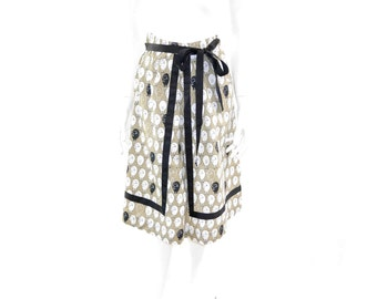 Vintage Black Sheep Skirt// Brown, white and Black Sheep Wrap Skirt// Size Medium// 124