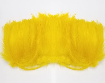 HACKLE 3'' Feather FRINGE Color : Yellow (Appx 100 pcs)