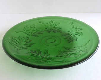 Fused Glass Oak Leaf Imprinted Dish or Bowl in Bright Green by BPRDesigns