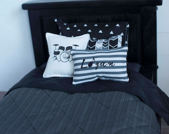 "18"" boy doll bedding, Logan bedding set, 18 inch doll blanket, doll pillow, doll bedding set"