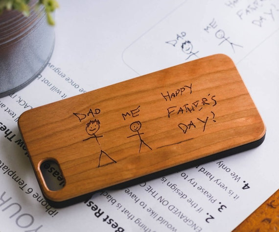 And the award for most adorable manly-man gift for Father's Day? The wooden personalized phone case with your kid's art on it.