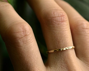 sunrise ring 14k gold ring 10k gold sterling sun ring dainty gold ring solid gold delicate band stacking ring skinny ring SUNRISE BAND