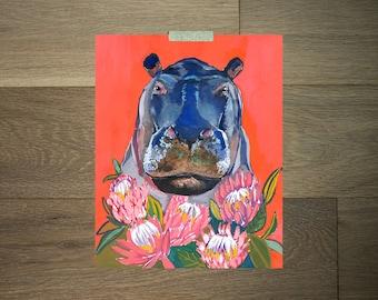 Hippopotame d'art - oeuvre protea - protea art print impression-hippo - art animalier - funky art-animal en fleurs - Hippo