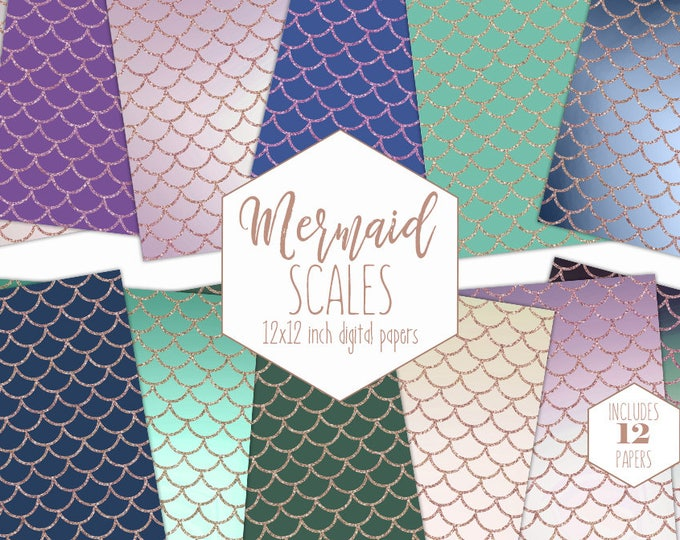 MERMAID SCALES Digital Paper Pack Purple Teal & Navy Blue Backgrounds Rose Gold Birthday Scrapbook Papers Patterns Party Printable Clipart