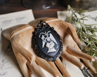 Baphomet pin brooch, occult, gothic jewelry, black brooch, black craft, gothic victorian, macabre, halloween, witch ,dark arts, magical