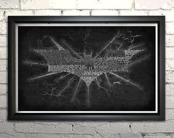 """Batman Dark Knight Rises Word Art Print - 11x17"""" Framed"""