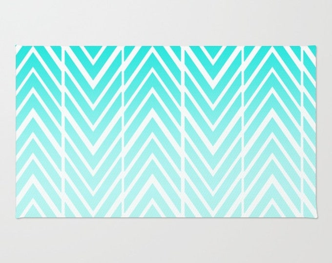 Turquoise Striped Rug - Room Rug - Throw Rug - Bathroom Decor - Blue and White - Made to Order