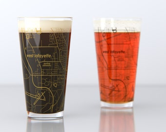 West Lafayette, IN - Purdue - College Town Pint Map Glasses