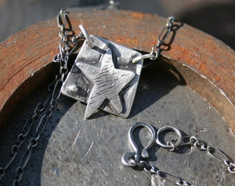 Star necklace,sterling silver star,star,maggiesmeltdown,Maggie's Meltdown,small necklace,square necklace,sterling square, sterling,