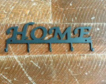 """Metal """"HOME"""" Key Rack Holder With Five Key Hooks Wall Hanging Can Be Personalized with Your Name"""