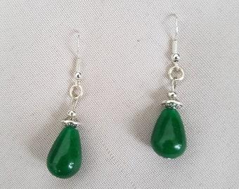 genuine jade and Silver earrings