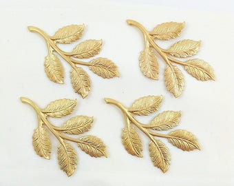 Brass Leaves, Raw Brass Leaf, Rose Leaf, Wedding Headpiece Supply, Hair Band Supply, Leaf Stamping, Brass Drop, 32mm x 50mm - 4 pcs. (r344)
