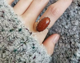 Sparkly sunstone silver ring | sz 6.5