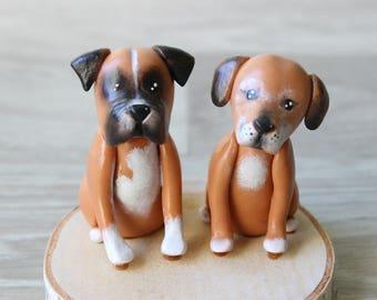 Custom dogs figurines: Dog cake topper - Boxer dog cake topper - Pet portrait sculpture - Dog wedding toppers - Dog birthday topper