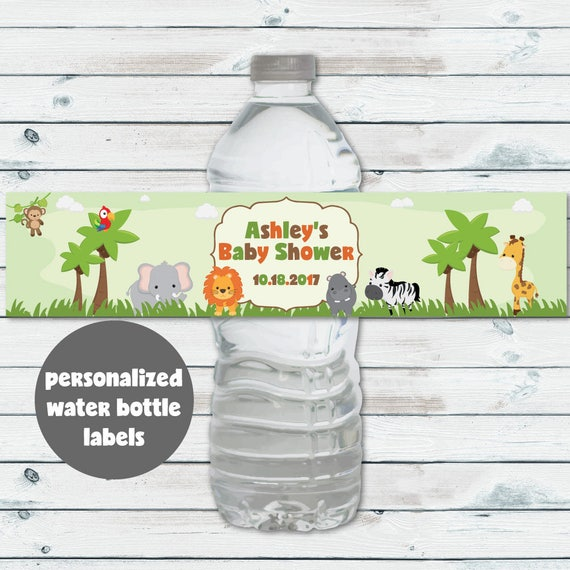 Personalized Safari Water Bottle Labels Printable Baby Shower