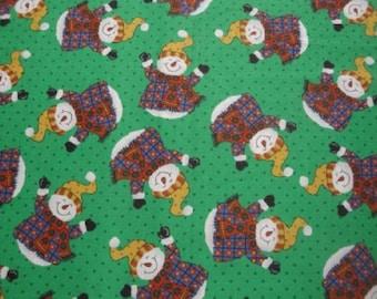 Rolly Polly Snowmen-Green B/G-Oakhurst Textiles-1 Yd.