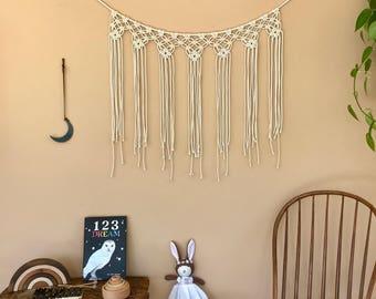 Macrame Garland, Bunting, Fringe Wall Hanging - Natural White Cotton Rope - Modern Boho Chic Home, Nursery, Party Decor, Wedding Backdrop