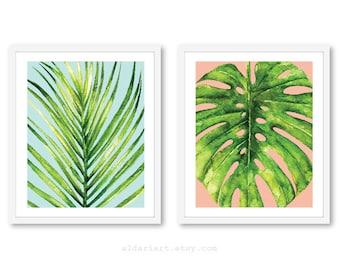 Leaf wall art - Palm Leaf Print  - Monstera Leaf Print - Tropical Leaf Wall Art - Monstera Wall Art - Tropical Wall Art - Tropical Decor