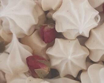 Meringue Vanilla bean, Vanilla, rum, lavender, rose, peppermint  cookies ,choose from flavors birthday,wedding, favors, baby shower, gift