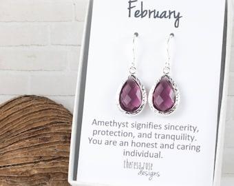 February Birthstone Silver Teardrop Earrings, February Birthday Earrings, Amethyst Silver Earrings, February Birthday Gift