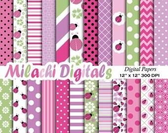 60% OFF SALE Pink Ladybug digital paper, 1st Birthday scrapbook papers, baby shower wallpaper, lady bug background - M385