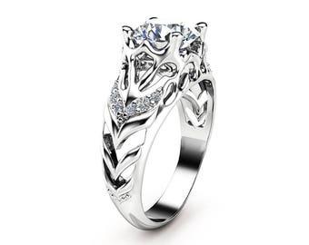 Unique Engagement Ring 14K White Gold Ring Round Shape Moissanite Ring Alternative Engagement Ring