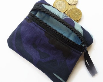 Camouflage blue coin purse, change purse, zipped pouch camo